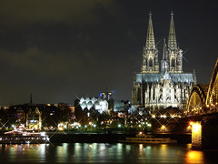 Cathedral by Night (GillWilson) Tags: germany cologne rhine colognecathedral hohenzollernbridge