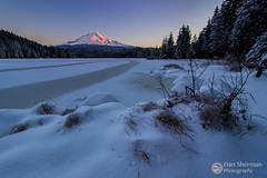 One Week Later (Dan Sherman) Tags: winter mountain lake snow cold ice oregon sunrise landscape trillium seasons unitedstates peak cascades mthood pacificnorthwest hood pdx mounthood alpenglow frozenlake winterscape cascademountains trilliumlake winterscene governmentcamp cascadevolcano