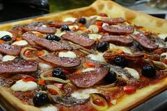 Homemade Pizza (ISO 69) Tags: italy food cheese pizza onions anchovies homemade olives mozzarella salami bellpeppers buffalomozzarella