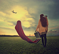 """""""Farewell"""" (Mineisha) Tags: woman girl airplane surrealism fineart farewell conceptual redhair suitcase squarecrop fineartphotography conceptualphotography"""