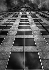 Knight Ridder (StefanB) Tags: california city sky bw reflection tower glass monochrome architecture outdoor sanjose geotag knightridder 2014 em5 1235mm