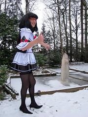 Winter (Paula Satijn) Tags: winter white snow cold sexy ice stockings girl garden pond shiny dress legs skirt tgirl transvestite satin miniskirt gurl silky