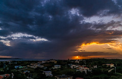 Tropical Storm at Sunset (Documentary & Travel Photography) Tags: santa christmas light sunset party vacation sky food sun holiday storm beach home fruits vegetables rain clouds golden bay twilight warm doll celebration passion tropical claus neighbor boqueron