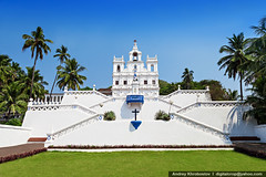 Our Lady Church, Goa (digitalcrop) Tags: old travel blue our india white building tourism portugal church beautiful saint wall architecture lady facade temple asia day exterior place cross cathedral bell basilica balcony indian traditional famous capital religion jesus colonial goa culture style chapel landmark palm christian unesco holy national christianity spirituality portuguese panjim conception immaculate panaji