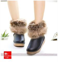 SB-0006 – รองเท้าบูทหนังเกรดเอพร้อมขนเฟอร์หนาฟูน่มรอบข้อเท้าพื้นหนากันน้ำกันหิมะไม่ลื่นน่ารักมาก