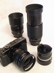 Fuji X-Pro1 Kit (Narsuitus) Tags: nikon fuji vivitar 70210mm 56mm 23mm 16mmfisheye