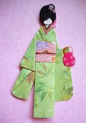 Japanese origami doll 8 (tengds) Tags: pink flowers green leaves bag asian japanese kimono obi papercraft japanesepaper washi ningyo handmadepaper chiyogami yuzenwashi japanesepaperdoll linenpaper washidoll origamidoll nailartsticker tengds