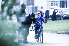 Don't be afraid (malcolmlee5d) Tags: park bike brighton dad child hove sunday crying riding learning push cry