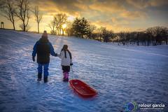 Sunday Sledding (topmedic) Tags: sunset snow cold sledding sled camille