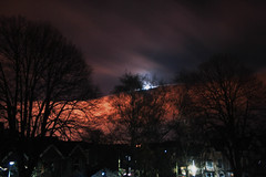 (Beckyoung) Tags: trees winter light sky cloud moon home nature beautiful night clouds speed dark stars lights star long exposure eerie trail shutter