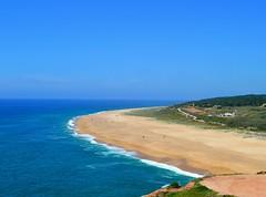 beach below (ekelly80) Tags: portugal nazar june2016 summer cliffs water ocean atlanticocean clear leiria view scenery beautiful below lookdown beach sand waves blue
