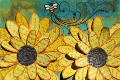 ICAD # 44 Sunflowers (clayangel_sc) Tags: artcards art doodles indexcardaday icad aceo ooak draw indexcards 4x6 mixedmedia folkart flowers shiny sunflowers bee