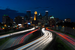 Blue Minneapolis (pete lok) Tags: 35 mm 35mm nikon minneapolis blue hour skyline light trails city night 35w highway freeway