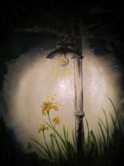 surrounded by night (Margherita-art) Tags: painting acrylic fantasy black light lamp flowers lily lilies