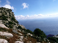 View from another crest of the ridge (angeloska) Tags: ikaria hikingtrails opsikarias aegean greece signage    ryakas geli   ikarianview southcoast february cliffs mountainclimbing
