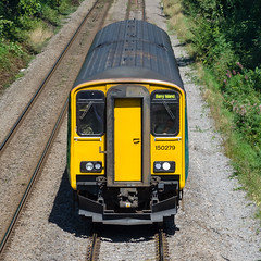 Sprinter (mikeplonk) Tags: arrivatrainswales trenauarrivacymru class150 sprinter endon fronton fromabove valleylines merthyrtydfil barryisland train railway yellow glyncoch pontypridd rct merthyrline nikon d5100 18140mm