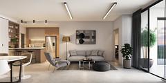 16025-Wyandra_CGI04_LivingType2A_Final [jpeg] (Blank Canvas Creative) Tags: neutral bight sunny daylight living kitchen dining modern