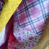 strawberry sunshine dress (.leila) Tags: pink white floral yellow strawberry dress purple bees fabric plaid reproduction tartan elastic garment childrensclothes briarrose vintagelook gutermann 100cotton denyseschmidt 100percentcotton heatherross sizefive serged quiltingcotton topstitching aurifil 1930srepros strawberrysunshine julianahorner