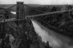Clifton Suspension Bridge (lovestruck.) Tags: bridge bw white black bristol gorge avon clifton