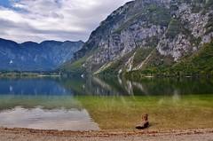 Lake Bohinj, Slovenia (stevelamb007) Tags: mountain lake alps reflection water clouds landscape peaceful calm slovenia clearwater calmwater julianalps triglavnationalpark d90 purewater lakebohinj ukanc stevelamb radolvljica