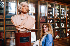 Jutta and John Ray (JeevesWilliams) Tags: travel blue girls red england people sculpture orange white london art english tourism fashion statue museum architecture glasses clothing nikon women girlfriend gallery unitedkingdom library science exhibition clothes bust german blonde british walls temperature britishmuseum botany museums plinth scientist lightroom naturalist jutta botanist johnray vsco vscocam