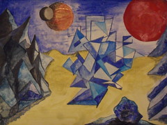 Dream world city?No.2 (dbx 750) Tags: world city blue red mountains art rock star acrylic desert dwarf dreams planet