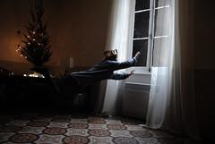 Escape (rubaayparkinson) Tags: christmas portrait sky tree girl night stars flying shadows surrealism surreal floating levitation fantasy curtains crown conceptual
