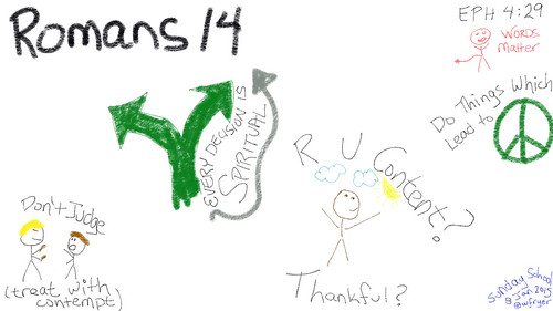 Sketch note about Romans 14 in Sunday Sc by Wesley Fryer, on Flickr