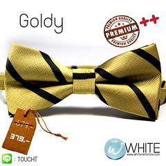 Goldy - หูกระต่าย สีทอง ลายเฉียง สีดำ Premium Quality++ (BT276)