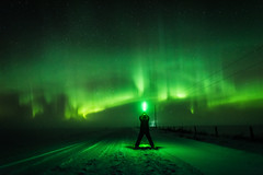 Conjuring the Sky Dwellers [Explored] (WherezJeff) Tags: winter canada fog boxingday alberta curtains pillars auroraborealis 2014 lightsabre vimy westlockcounty