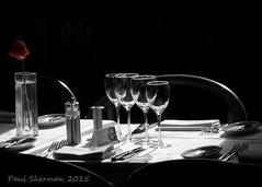 All Set (muppet1970) Tags: blackandwhite sunlight flower dinner restaurant glasses chairs ipswich tanle