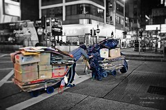 HardSell ,,  (Vernon de M) Tags: world life street old blackandwhite man eye art night trash hongkong sadness women all sad homeless snapshot snap save beggar help seeing midnight delivery ng fieldwork vernon survivor vagrant citizens scavenger heal hardworking hardearned justshootit