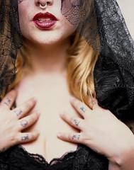 Ashya Veil (christait) Tags: woman canada colour calgary veil slide tattoos alberta redlips lipstick yyc blackdress septumpiercing fujiprovia100f toyo45g schneider210mmf56symmars