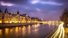 Paris (Deirdre Hayes) Tags: city longexposure paris beautiful seine night gold lights cityscape purple explore magical concergerie explored