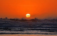 The waves cry when the sun goes down (AlberBarrera) Tags: ocean sunset sea summer sky sun seascape reflection beach landscape heaven waves peace darkness image symbol cry seashore redsunset