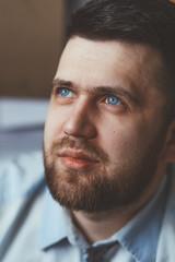 1 (Synergetics) Tags: blue portrait man shirt work silver beard eyes russia blueeyes center jewelry professional jeans master siberia workshop jewels profession jeweler krasnoyarsk