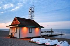 Toronto 7 (euanwhite) Tags: boathouse boats beach toronto lifeguard dusk sunset