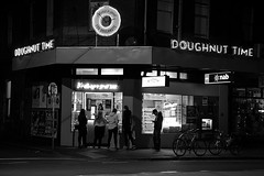 Hungry... Doughnut Time! (Al Kinda Photography) Tags: blackandwhite doughnut neon night city