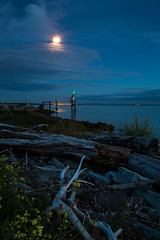 Moonlight Feels Right (iPhilFlash) Tags: fraserriver garrypointpark outdoor clouds longexposure vancouver bluehour sky britishcolumbia twilight cloud richmond canada moon luna outdoors steveston landscape serene blue water