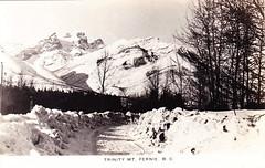 Fernie, snow, Trinity (or Three Sisters) Mountain, 1930s? (bbradleyaway) Tags: bc britishcolumbia snow winter threesisters fernie kootenays eastkootenays