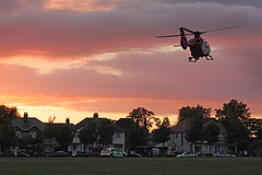 Air Ambulance on the Veracity Rec Ground (zombikombi1959) Tags: airambulance sunset crime gang youths merryoak veracityrec sholing southampton helicopter chopper evening thames valley emergencyservices emergency 999 rapid response