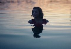 Calm (Lialess) Tags: lake water sunset blue golden red light floating outdoor nature soft calm peace humanity longing lost