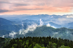 Clearing Cowee (Appalachian Hiker) Tags: sunset mountains mist fog blueridge blueridgeparkway rain spring layers