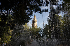 Keep reaching for the Tower. (thetomgrey) Tags: koice slovakia hlavna dm svtej albety tower church cathedral gothic singing fountain park trees water canon 60d sigma 1835 f18
