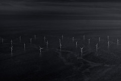 any way the wind blows (stocks photography.) Tags: michaelmarsh photography sea seaside windfarm windturbines whitstable hernebay coast kentishflats bw aerialphotography helicopter photographer