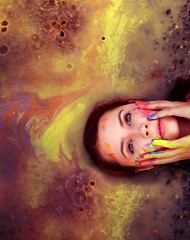 Tiny Raindrop (Melissa Marie Klucaric) Tags: self selfportrait myself melissa melissamarieklucaric portrait 50mm canon canont3i balanceandcomposure paint psychedelic