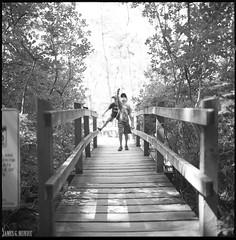 Boys on a bridge (James Mundie) Tags: jamesmundie jamesgmundie profjasmundie jimmundie mundie copyrightjamesgmundieallrightsreserved copyrightprotected blackandwhite blancetnoir noir black monochrome monochromatic bw blancoynegro biancoenero schwarzweis mediumformat squareformat 120mm 120film 6x6 film analog hasselblad500cm carlzeiss mittelformat carlzeissplanar80mm planart2880 hasselblad500 500series vsystem hasselbladvsystem fujiacros100 wildlife rachelcarson naturalist rachelcarsonnationalwildliferefuge