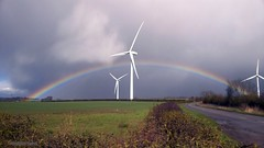 rainbow 084 (M0JRA) Tags: weather clouds sky sun rain rainbows wind turbine roads trees fields