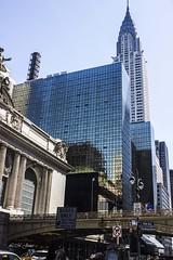 NYC April 2016 (LMJones Photo) Tags: 20160416nyc 0241a nyc newyorkcity april spring grandcentralstation train station windows reflection glassandsteel oldandnew tall skyscraper 20160413nyc newyork travel urban city april2016 firstvisit tourist canont3i chryslerbuilding