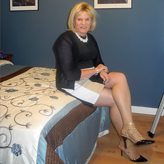 Color Block Dress (krislagreen) Tags: tg tgirl transgender transvestite cd crossdress dress hose heels patent blond cardigan black tan white femme feminized feminization